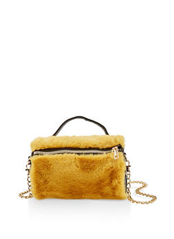 Faux Fur Chain Crossbody Bag - 1124067449034