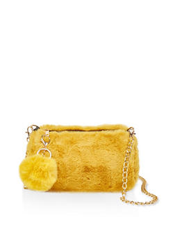 Faux Fur Barrel Chain Crossbody Bag - 1124067449035