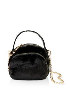 Small Double Zip Faux Fur Crossbody Bag - 1124067449037
