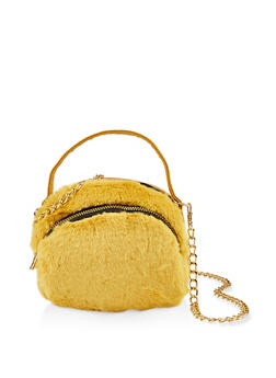 Small Double Zip Faux Fur Crossbody Bag - 1124067449037