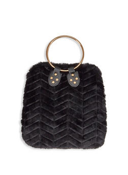 Chevron Faux Fur Handbag - 1124067449040