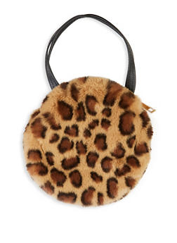 Faux Fur Small Round Handbag - BROWN - 1124067449053