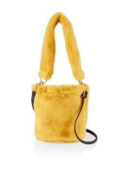 Faux Fur Crossbody Bucket Bag - 1124067449058