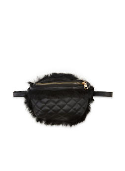 Quilted Faux Fur Trim Crossbody Bag - 1124067449059
