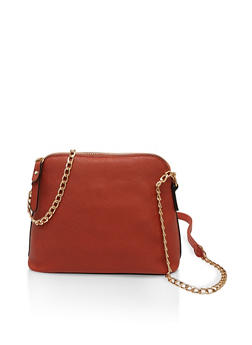 Faux Leather Chain Crossbody Bag - 1124067449061