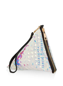 Holographic Stud Quilted Pyramid Wristlet - 1124067449774