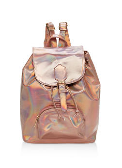 Faux Leather Drawstring Backpack - 1124073330619