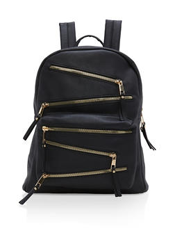 Faux Leather Asymmetrical Zip Backpack - 1124073401015