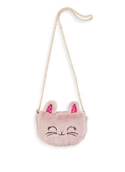 Faux Fur Glitter Bunny Crossbody Bag - 1124073401062