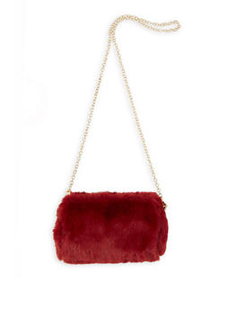 Faux Fur Chain Crossbody Bag - 1124073401171