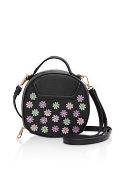 Faux Leather Flower Studded Crossbody Bag - 1124073401566