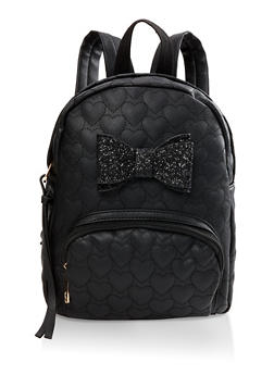 Glitter Bow Faux Leather Backpack - BLACK - 1124073401675
