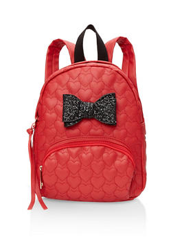 Glitter Bow Faux Leather Backpack - RED - 1124073401675