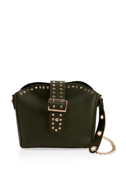 Studded Faux Leather Handbag - 1124073402039