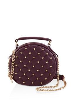 Round Studded Crossbody Bag - 1124073402047