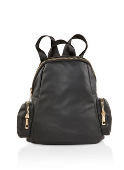 Faux Leather Zip Backpack - BLACK - 1124073402050