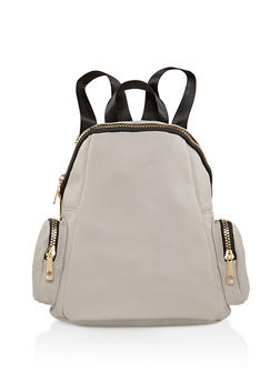 Faux Leather Zip Backpack - 1124073402050