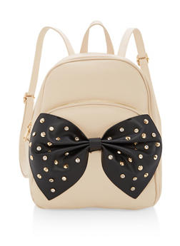 Studded Bow Faux Leather Backpack - 1124073407202