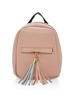 Small Faux Leather Tassels Backpack - 1124073407216