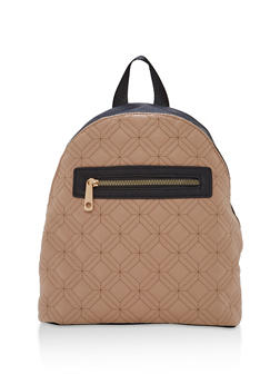 Quilted Faux Leather Backpack - 1124073407225