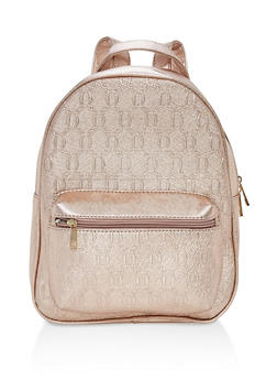 Textured Faux Leather Backpack - 1124073895638