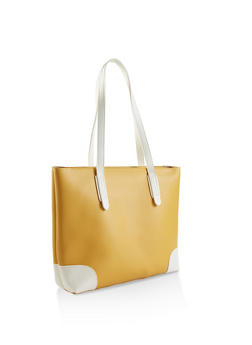 Color Block Faux Leather Tote - 1124073895970