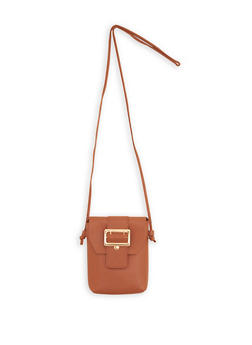 Faux Leather Buckle Accent Crossbody Bag - 1124073895988