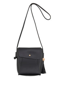 Faux Leather Crossbody Bag with Tassel Detail - 1124073896008