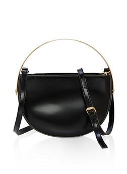 Half Moon Faux Leather Crossbody Bag with Metallic Handle - 1124073896010
