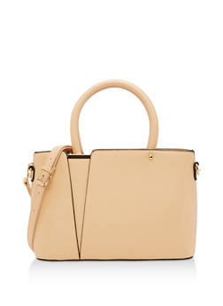 Textured Faux Leather Satchel - 1124073896130
