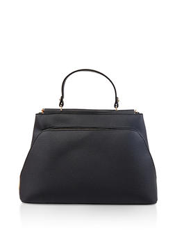 456e6ff84f Textured Faux Leather Satchel - 1124073896545