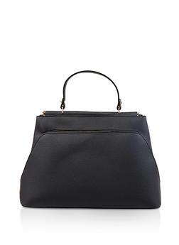 Textured Faux Leather Satchel - 1124073896545