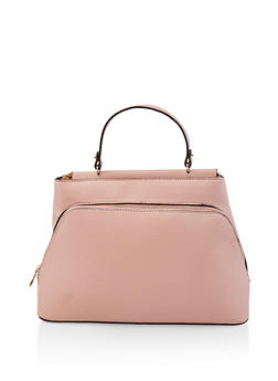 Textured Faux Leather Satchel - 1124073896545