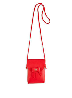 Bow Faux Leather Crossbody Bag - 1124073896580