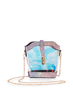 Glitter Trim Iridescent Crossbody Bag - 1124073896583