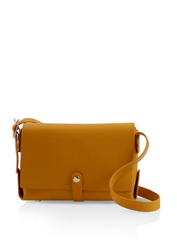 Faux Leather Crossbody Satchel - 1124073896602