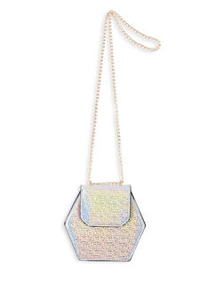 Hexagonal Faux Leather Crossbody Bag - 1124073896660
