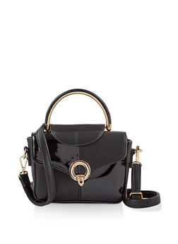 Metallic Handle Crossbody Satchel - 1124073896695