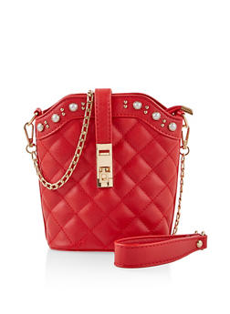 Faux Pearl Quilted Crossbody Bag - 1124073896696