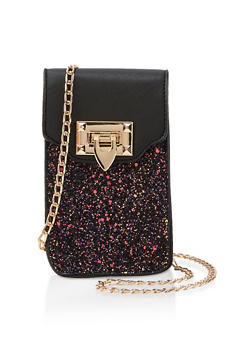Faux Leather Glitter Crossbody Bag - 1124073896705