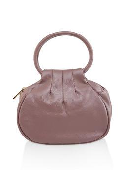 Small Double Zip Faux Leather Handbag - 1124073896743