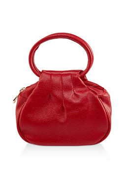 Small Double Zip Faux Leather Handbag - 1124073896743