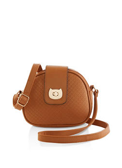 Cat Flap Lock Embossed Crossbody Bag - 1124073896750