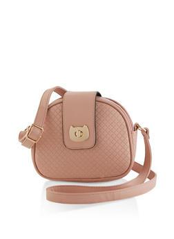 Cat Flap Lock Embossed Crossbody Bag - 1124073896750