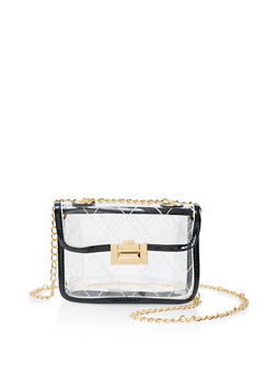 Contrast Trim Clear Shoulder Bag - 1124073896768