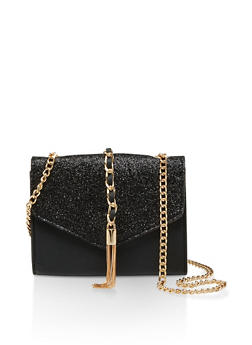 Glitter Flap Faux Leather Crossbody Bag - 1124073896793