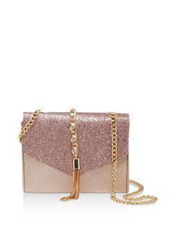 Glitter Flap Faux Leather Crossbody Bag - 1124073896793