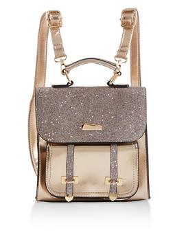 Metallic Glitter Flap Backpack - 1124073896812