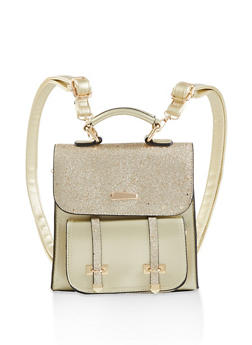 Metallic Glitter Flap Backpack - GOLD - 1124073896812