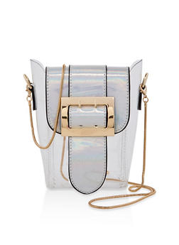 Buckle Flap Clear Crossbody Bag - 1124073896817